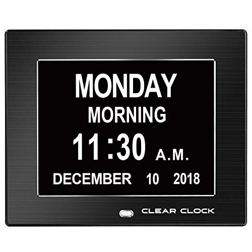 Clear Clock 2.0 Special Edition Metal Frame Extra Large Memory Loss Digital Day Clock Calendar with 12 Alarms Perfect for Seniors and Impaired Vision Dementia Clock (Black Metal Frame)