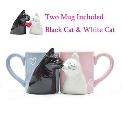 Kiss Cat Coffee Couple Handmade Mug, Funny Tea Ceramic cup set...