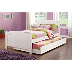 Twin bed w/Trundle in White Color Pine Wood by Poundex