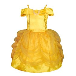 Dressy Daisy Girls' Princess Belle Costume Fancy Party Dresses up Size 2-3T Gold