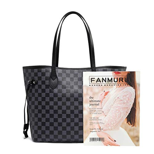 Daisy Rose Checkered Tote Shoulder Bag with inner pouch - PU Vegan Leather 6 Fashion Online Shop gifts for her gifts for him womens full figure