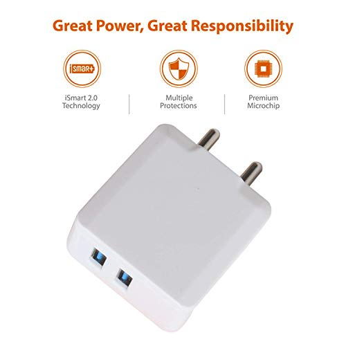 cableBasket Fast Turbo Mobile Dual USB Port 2.4A amp Wall Charger Adapter for Android Phones with Two Micro USB Data Cables (2 amp) 3