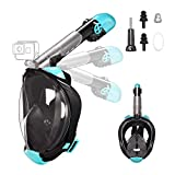 Letsport Snorkel Mask, Dual-Snorkel Full Face Snorkeling Mask for Adults, Foldable 180 Panoramic View Diving Mask, Anti-Fog Anti-Leak Snorkel Set with Detachable Camera Mount, Adjustable Head Straps