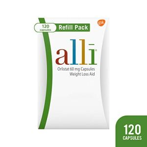 alli Weight Loss Diet Pills, Orlistat 60 mg Capsules, Non Prescription Weight Loss Aid, 120 Count Refill Pack 2
