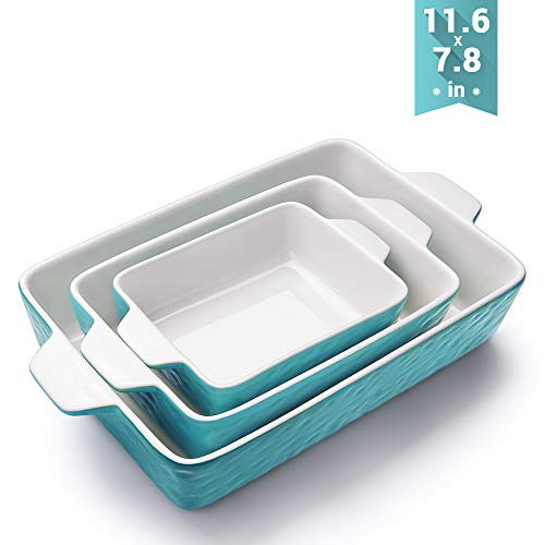 Bakeware Set, Krokori Rectangular Baking Pan Ceramic Glaze Baking Dish for Cooking, Kitchen, Cake Dinner, Banquet and Daily Use - Aquamarine, 3 Pack of Rectangular