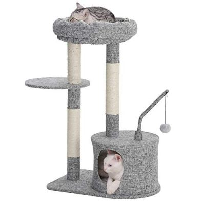 FEANDREA SONGMICS Cat Tree with Sisal-Covered Scratching Posts, Padded Condo and Top Perch, Activity Centre Playhouse Cat Tower Furniture,Linenette Surface, Light Grey UPCT62W