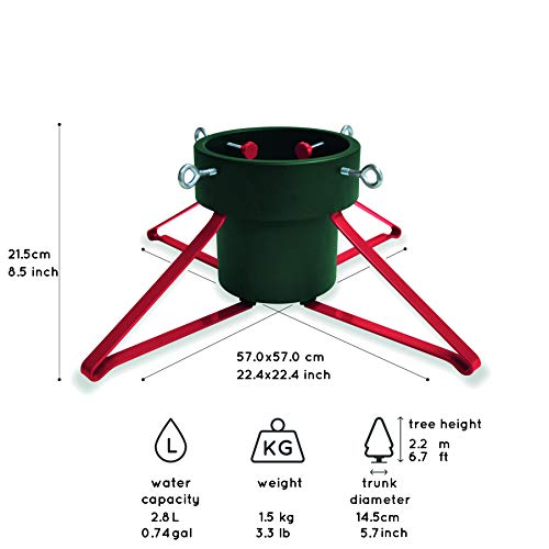 Tree Nest Trendy & Sturdy Design Christmas Tree Stand for Real Trees Up to 6.7' Trees Water Reservoir Holds Up to 0.74 Gal Green