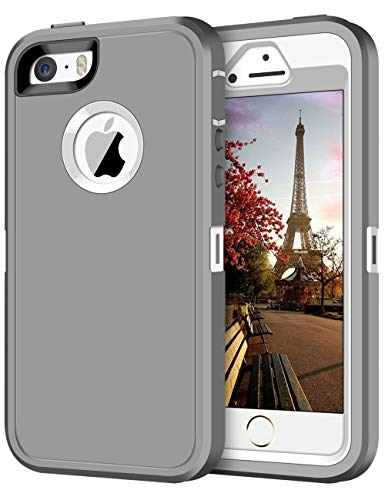 JAKPAK Case for iPhone 5S Case iPhone SE Case iPhone 5 Case Heavy Duty Shockproof Protective Scratch-Resistant Shell with Hard PC Bumper+Soft TPU Back Cover for iPhone 5/iPhone 5S/iPhone SE,Gray&White