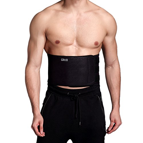 Cotill Waist Trimmer Ab Belt for Men Women - 3 Adjustable Closure Waist Trainer - Stomach Wrap Slimming Sauna Weight Loss Belts and Lower Back Lumbar Support (Large)