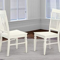 East West Furniture Weston dining chair – Wooden Seat and Linen White Solid wood Frame dining chair set of 2