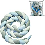 Luchild Baby Braided Crib Bumper Soft Snake Pillow Protective & Decorative Long Baby Nursery Bedding Cushion Knot Plush Pillow for Toddler/Newborn (White+Grey+Blue)
