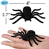 Halloween Yard Decorations Spider Web - 4 Pcs Plastic Fake Big Spiders for Outdoor Indoor Scary Halloween Decor Clearance