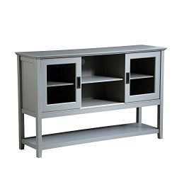 Mixcept 55″ Modern and Contemporary Sideboard Buffet Cabinet Wood Console Table Storage Cabinet with Sliding Doors Kitchen Dining Room Furniture, Gray
