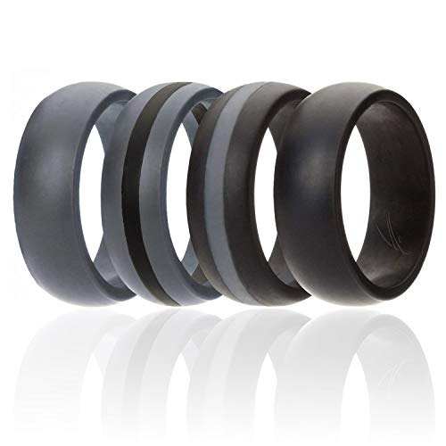 ROQ Silicone Wedding Ring for Men, 4 Pack Silicone Rubber Band - Black, Black with Thin Grey Stripe, Grey with Black Stripe, Grey, Size 11
