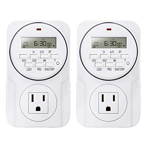 2 Pack Heavy Duty 7-Day Smart Digital Programmable Timer Outlet with LCD Display, Set Up to 8 Different On/Off Programs for Multipurpose