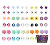 30 Pairs Mix Pearls Ball Daisy Rose Flower Assorted Earrings Studs Set, Hypoallergenic (30 Balls+Flowers)