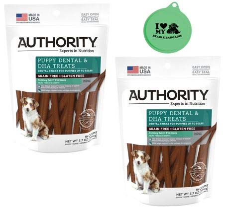 Authority Puppy Dental & DHA Treats Grain Free Gluten Free Parsley Mint Flavor - 2 Pack, 3.7 Oz Each Plus Can Cover (3 Items Total) 1