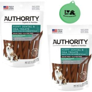Authority Puppy Dental & DHA Treats Grain Free Gluten Free Parsley Mint Flavor – 2 Pack, 3.7 Oz Each Plus Can Cover (3 Items Total)