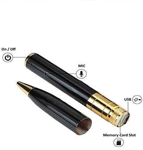 M S TECH Spy Pen Camera 720p HD, Support 32 GB SD Card Support(not Included), Audio and Video Recording, Hidden Pen Camcorder for Home/Office/Meeting Gold & Black Color