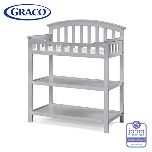 Graco Changing Table with Water-Resistant Change Pad and Safety Strap, Pebble Gray, Multi Storage Nursery Changing Table for Infants or Babies