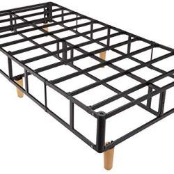 AmazonBasics Premium Foldable Mattress Foundation/Box Spring with Steel Slats and Wood Legs, Tools-free Assembley, Twin
