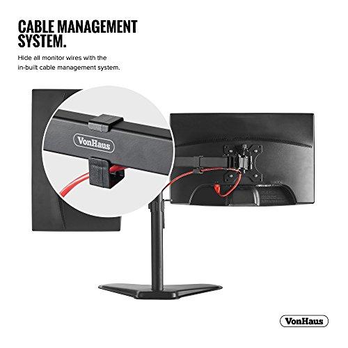 "41xtFLu rCL - VonHaus Dual Monitor Stand for 13-32"" Screens - Double Arm Desk Mount Bracket - Ergonomic ±180° Tilt, 360° Rotation & Twin 360° Swivel Arms - VESA Dimensions: 75x75-100x100"