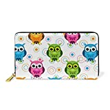 Circle And Owl Decorations Leather Zipper Wallet For Woman Simple Wallet Durable And Beautiful