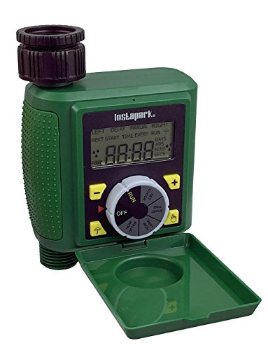 Instapark PWT-07 Outdoor Waterproof Digital Programmable Single Outlet Automatic On Off Water Faucet Hose Timer with Rain Delay and Manual Control