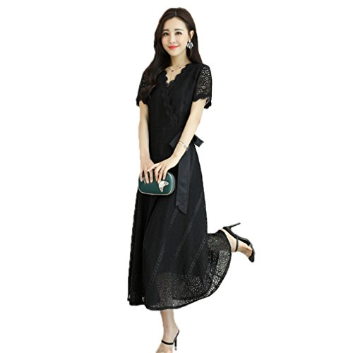 51ToAFY2kJL Fabric: Polyester+Lace Main features: Suit For Evening Party, A-LINE Dress, Below Knee-Length, Ruffle Sleeve, Fashion Lacing At High Waist, See Through, Printed Dress Size: Please check the SIZE CHART before you place the order