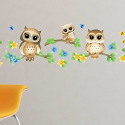 Owls on Branches Fabric Wall Decal – Brown – Set of 3 Owls on Tree Branches with Flowers and Butterflies – 4 Color Options – Non-Toxic, Reusable, Repositionable