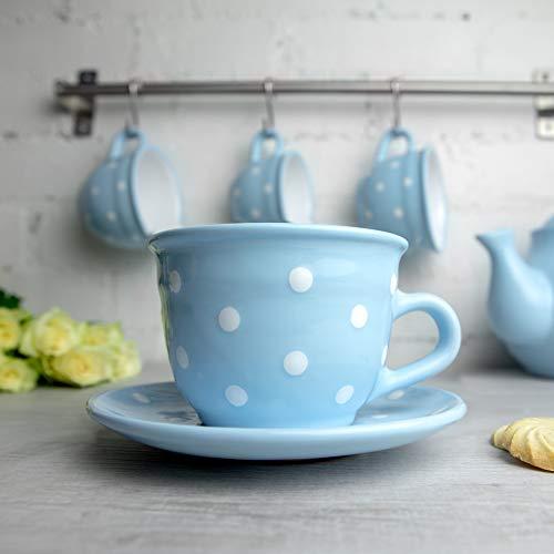Light Blue Polka Dot Coffee Tea Cup
