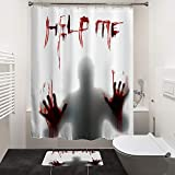 HIYOO Bathroom Decorative Polyester Fabric Waterproof Bath Shower Curtain, Scary Horror Thrilling Theme Design, High-Definition Image, with Hooks 60' W x 72' H- Help Me