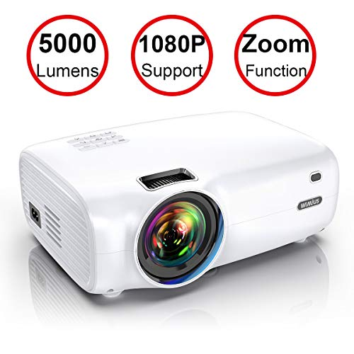 Projector-WiMiUS-P30-5000-Lumens-Mini-Projector-1080P-Full-HD-Support-200-Display-Zoom-Function-60000-Hrs-Compatible-with-USB-PC-Laptop-PS4-Smartphone-for-Home-Entertainment
