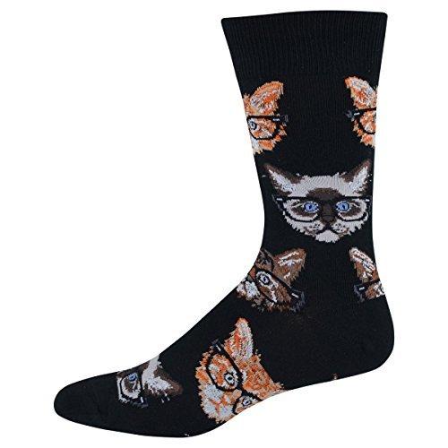 Socksmith Men's Socks Kittenster Crew Black 1pair, Sock size 10-13 will fit a men's shoe size 8-13