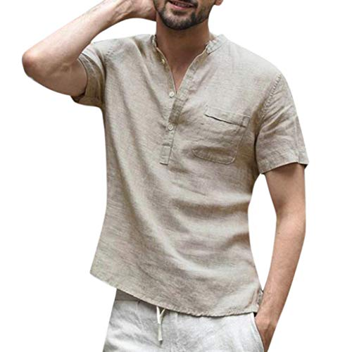 Realdo Mens Button Down Shirt,Cotton Linen,Men's Casual Solid Color Short Sleeve Retro T Shirts Tops with Pocket Khaki