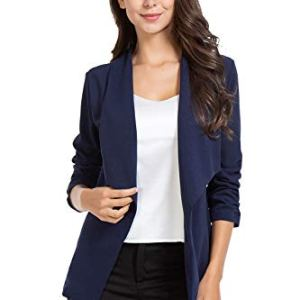 AUQCO Casual Open Front Blazer for Women Work Office Business Jacket Ruched 3/4 Sleeve Lightweight Draped Cardigan 12 Fashion Online Shop 🆓 Gifts for her Gifts for him womens full figure