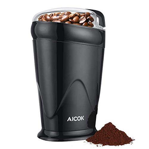 Coffee Grinder Electric Aicok, One Button Coffee Bean Grinder with Fast Speed, 12 Cup Portable Spice Grinder with Stainless Steel Blades, Black