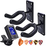 Guitar Wall Mount Hanger Guitar hangers for wall 2 Pack Black hook with Guitar Tuner Clip-On Tuner