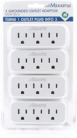Maxxima 3 Grounded Multi Outlet Adaptor Wall Plug, Turn one outlet into 3 (Pack of 4) 16