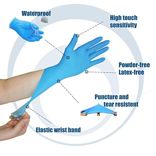 [400 Pack] Small Blue Nitrile Medical Gloves – Non Latex Rubber, Protein and Powder Free, Exam/Food Grade Safe Supplies, Disposable Hand Glove Dispenser Pack deal 50% off 41yJX4t0k2L