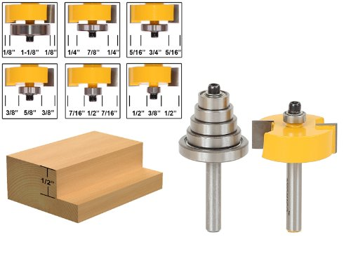 Yonico 14705q Rabbet Router Bit with 6 Bearings Set -1/2-Inch 1/4-Inch Shank