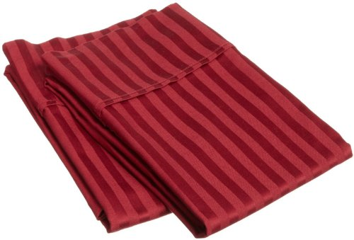 Superior Combed Cotton 300 Thread Count Pillowcase Pair Stripe, Burgundy, Standard