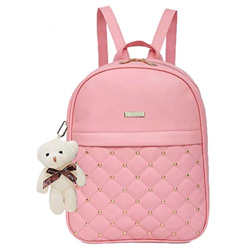 41yNF8QBoTL - TYPIFY® PU Leather Teddy Keychain Stylish and Trending High Quality Women Backpack for College Office Bag Girls Handbag Purse
