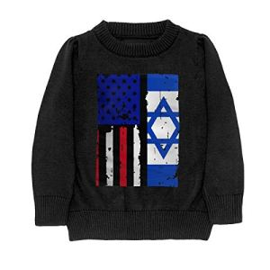 HJKNF58Q Israel American USA Flag Pride Sweater Youth Kids Funny Crew Neck Pullover Sweatshirt
