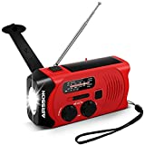 Emergency Solar Hand Crank Portable Radio with Battery Indicator, WB Weather Radio for Household&Outdoor with AM/FM, LED Flashlight, 2000mAh Power Bank USB Charger and SOS Alarm〖Upgraded Version〗