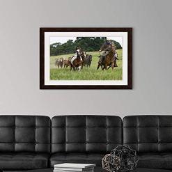 Cowboy & Herd of Horses Wall Art