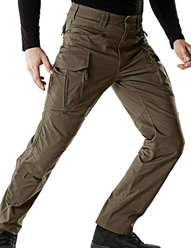 CQR CQ-TFP521-TDR_36W/34L Men's Flex Stretch Tactical Work Outdoor Operator Rip-Stop Trouser Pants EDC