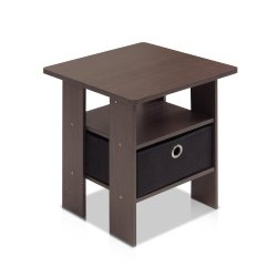 Furinno End Table Bedroom Night Stand w/Bin Drawer, Dark Brown/Black