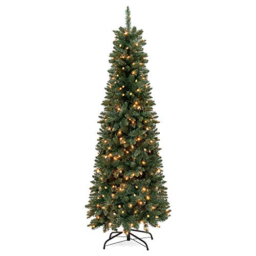 Best Choice Products 7.5ft Pre-Lit Premium Hinged Fir Pencil Artificial Christmas Tree w/ 350 UL 588 Certified Lights, Foldable Stand - Green