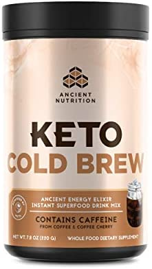 Ancient Nutrition KetoCOLDBREW Energy Elixir Powder, 20 Servings, Keto Diet Supplement, MCTs from Coconut, Coffee Beans, Energy Booster 1